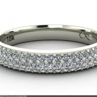 Style B301 :: Three-row Pave-set Diamond Band