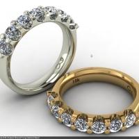 Style B401 :: Raised Shared-prong Diamond Band