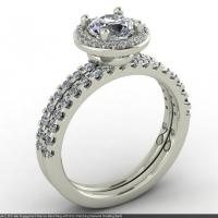 Style E102 :: Round Halo Narrow Shared-prong Diamond Engagement Ring