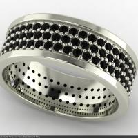 Gent's Three-row Pave Black Diamond Ring