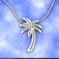 Style P301 :: Palm Tree Diamond Pendant