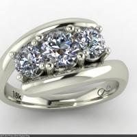 Style R102 :: By-pass Three-stone Diamond Ring